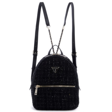 Casual Style Faux Fur Logo Backpacks