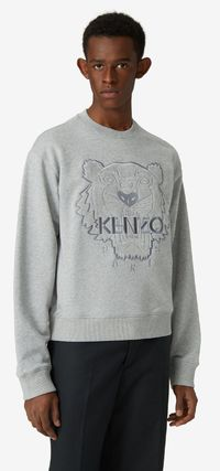 KENZO Crew Neck Pullovers Long Sleeves Cotton Logo Designers