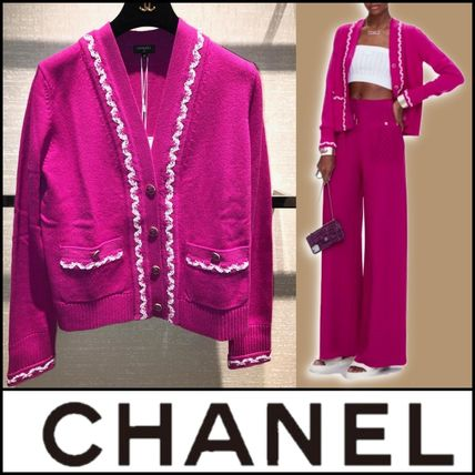CHANEL Lace-up Casual Style Cashmere Street Style Long Sleeves