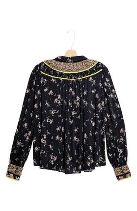 Flower Patterns Casual Style Long Sleeves Elegant Style