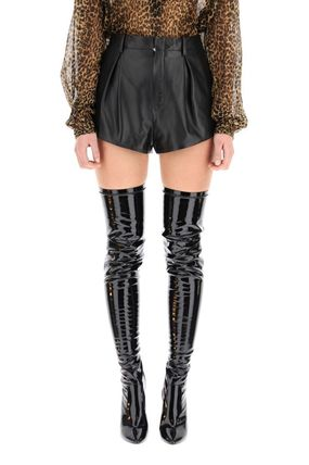 Saint Laurent Street Style Leather Leather & Faux Leather Shorts