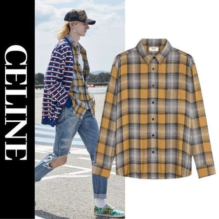 CELINE Shirts Button-down Other Plaid Patterns Long Sleeves Luxury Shirts