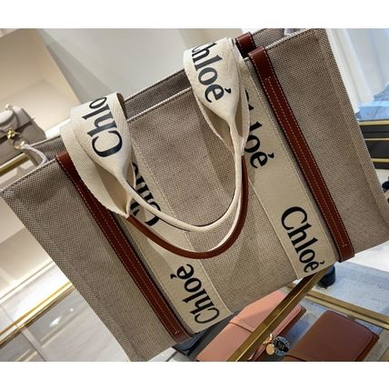 Chloe Casual Style Blended Fabrics Logo Totes