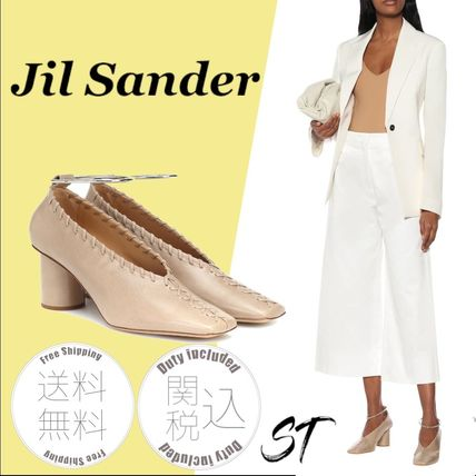 Jil Sander Square Toe Plain Leather Block Heels Party Style