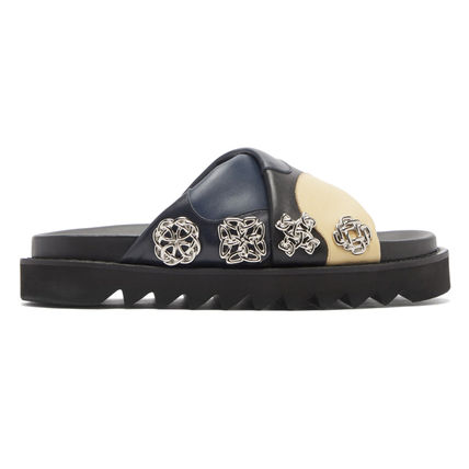 Casual Style Unisex Street Style Bi-color Leather Sandals