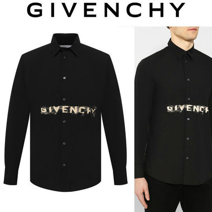 GIVENCHY Shirts Button-down Long Sleeves Cotton Logo Luxury Shirts