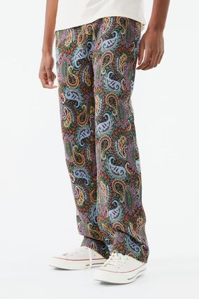 Printed Pants Paisley Denim Street Style Cotton Jeans