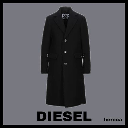 DIESEL Wool Street Style Plain Long Chester Coats