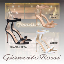 Gianvito Rossi Open Toe Suede Plain Leather Pin Heels Party Style