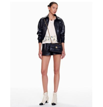 CHANEL Short Casual Style Plain Leather Medium Party Style