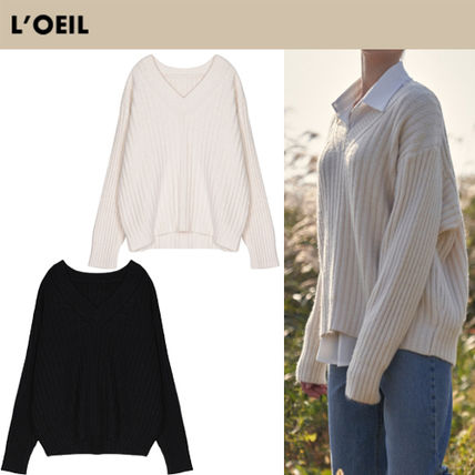 Casual Style Street Style Long Sleeves V-neck & Crew neck
