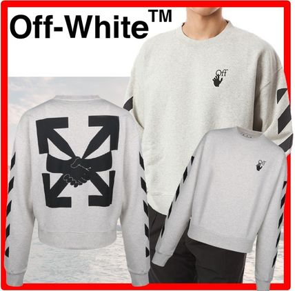 Off-White Sweatshirts Unisex Street Style Long Sleeves Cotton Sweatshirts