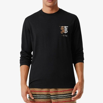 Burberry Crew Neck Street Style Long Sleeves Plain Cotton