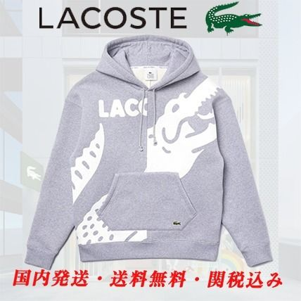 LACOSTE Hoodies Pullovers Sweat Street Style Long Sleeves Plain Cotton Logo
