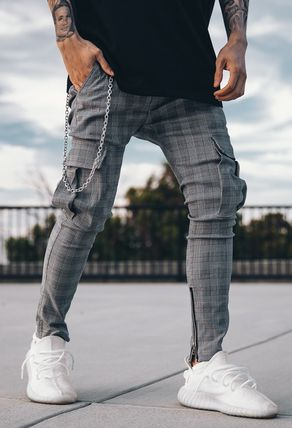 DECEPTION Other Plaid Patterns Street Style Cargo Pants