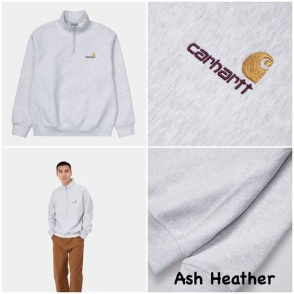 Carhartt Sweat Street Style Plain Cotton Logo Sweatshirts