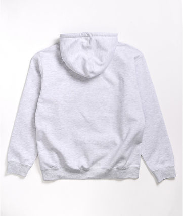 Street Style Long Sleeves Plain Cotton Logo Hoodies