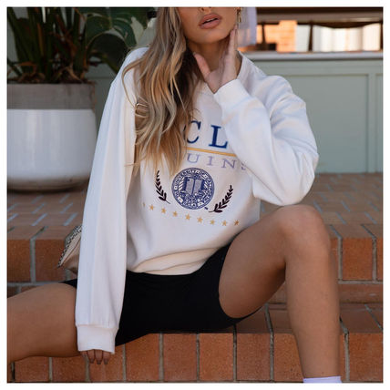 Princess Polly Crew Neck Sweat Street Style Long Sleeves Plain Cotton