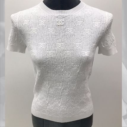 CHANEL ICON Crew Neck Short Casual Style Plain Short Sleeves Party Style