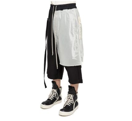 RICK OWENS Street Style Plain Cotton Oversized Cropped Pants