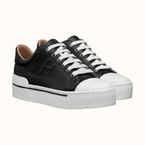 HERMES Round Toe Rubber Sole Lace-up Casual Style Street Style