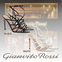 Gianvito Rossi Open Toe Plain Leather Pin Heels Party Style Elegant Style