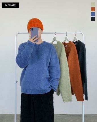 HUE Sweaters Unisex Street Style Collaboration Plain Oversized Sweaters