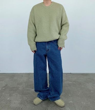 HUE Sweaters Unisex Street Style Collaboration Plain Oversized Sweaters 3