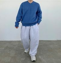 HUE Sweaters Unisex Street Style Collaboration Plain Oversized Sweaters 14
