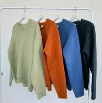 HUE Sweaters Unisex Street Style Collaboration Plain Oversized Sweaters 16
