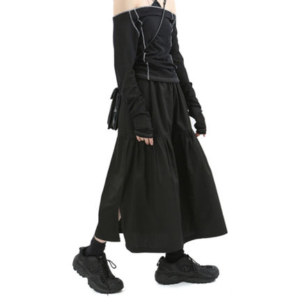 Raucohouse Casual Style Pleated Skirts Street Style Plain Long