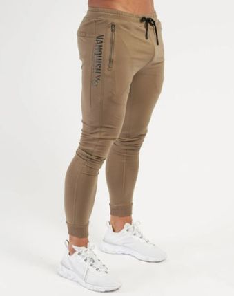 VANQUISH FITNESS Logo Tapered Pants Unisex Plain Street Style Tapered Pants