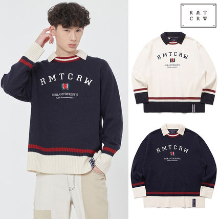 ROMANTIC CROWN Sweaters Unisex Street Style Collaboration Long Sleeves Plain