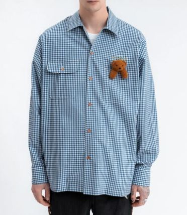 doublet Shirts Button-down Gingham Street Style Long Sleeves Cotton