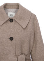 IT MICHAA Chester Stand Collar Coats Casual Style Wool Cashmere Studded Plain 4