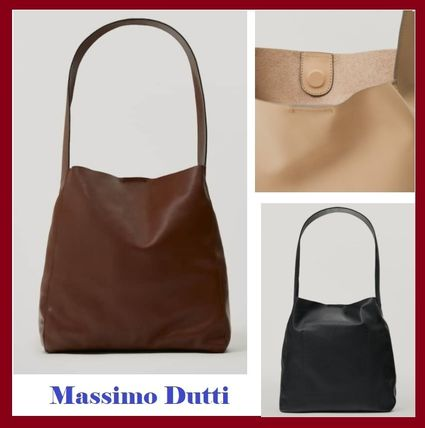 Massimo Dutti Totes Casual Style Plain Leather Elegant Style Formal Style  Totes