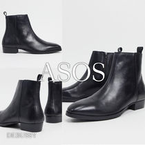 ASOS Topman Leather Cuban Boots In Black