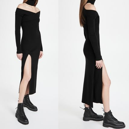 Tight Long Sleeves Plain Long Party Style Elegant Style
