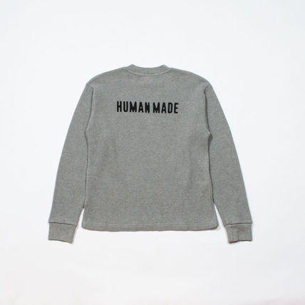 HUMAN MADE Crew Neck Pullovers Unisex Street Style Long Sleeves Plain