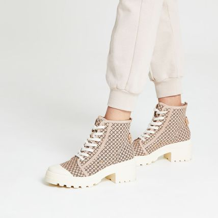 River Island Monogram Round Toe Lace-up Casual Style Street Style Plain