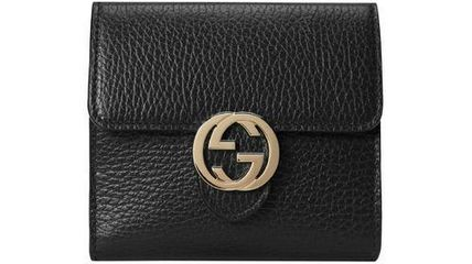 GUCCI Folding Wallet Logo Leather Folding Wallets