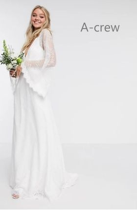ASOS Maxi Long Sleeves Long Bridal Wedding Dresses