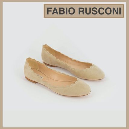 Round Toe Casual Style Suede Plain Leather Flats