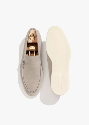 Moccasin Suede Plain Leather U Tips Loafers & Slip-ons