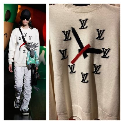Louis Vuitton Crew Neck Pullovers Wool Street Style Bi-color Long Sleeves