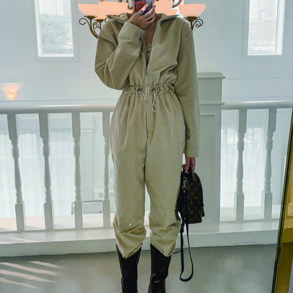 Dungarees Casual Style Long Sleeves Plain Long High-Neck