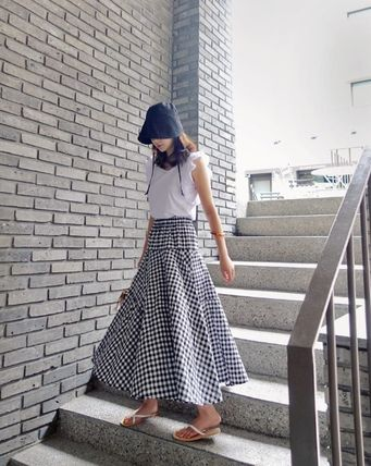 Flared Skirts Gingham Casual Style Street Style Long