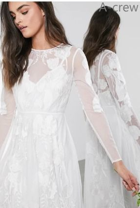 ASOS Bridal Flower Patterns Long Sleeves Long Wedding Dresses