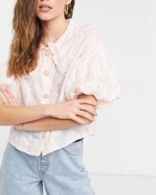 Flower Patterns Short Sleeves Puff Sleeves Shirts & Blouses