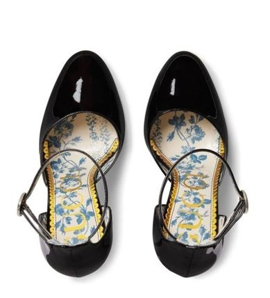GUCCI Flower Patterns Blended Fabrics Plain Leather Party Style